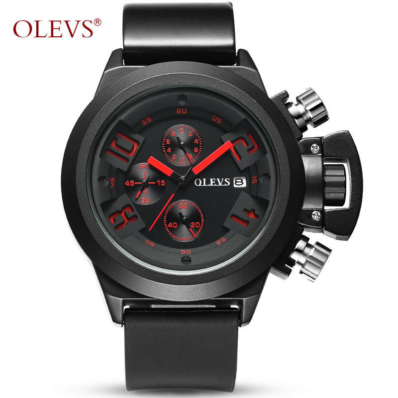 OLEVS Black Watch Men Watches Top Brand Luxury Wristwatch Male Clock Silicone Band Quartz Wrist Watch Calendar Relogio Masculino super speed v0169 fashionable silicone band men s quartz analog wrist watch blue 1 x lr626