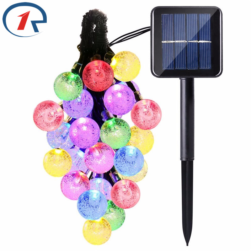 ZjRight 6M 30 LED NEW Crystal Ball Solar String <font><b>Lights</b></font> Garden fence Christmas tree Decoration Outdoor Popular Globe Fairy <font><b>Lights</b></font>