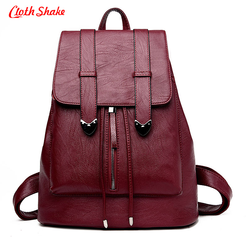 Cloth Shake brand high quality PU leather women backpack vintage backpack for teenage girls casual bags