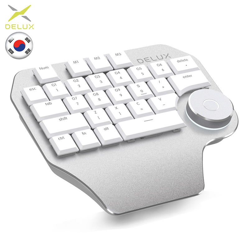 Delux T11 clavier Design avec cadran intelligent 3 groupe personnalisable 28 touches compatibilité clavier Wacom Windows Mac logiciel de conception