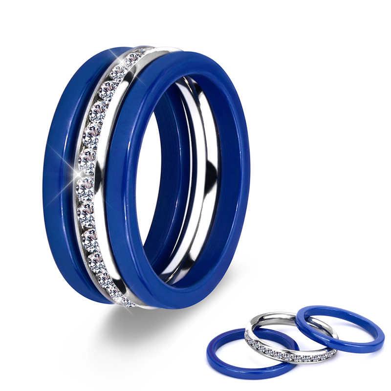 3 Pcs/set Stainless Steel Keramik Wanita Cincin dengan Bling Crystal Ungu Berwarna Merah Muda Biru Hitam Putih Wanita Cincin Pernikahan Natal Hadiah