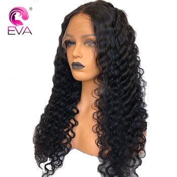 Eva włosów 360 czołowa koronki peruki Pre oskubane linia włosów z dzieckiem włosy koronki przodu peruki z ludzkich włosów peruka z mocnymi lokami brazylijski Remy włosy do włosów tanie i dobre opinie Średnia wielkość Brazylijski włosy Wszystkie kolory Średni brąz Eva Hair Głęboka fala Swiss koronki