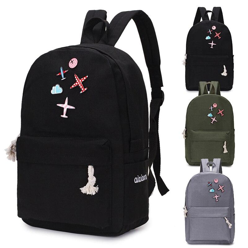2019 Solid Color Canvas Women Backpack High Capacity School Bag Student Adolescent Girl Backpack Female Rucksack Mochila Bagpack