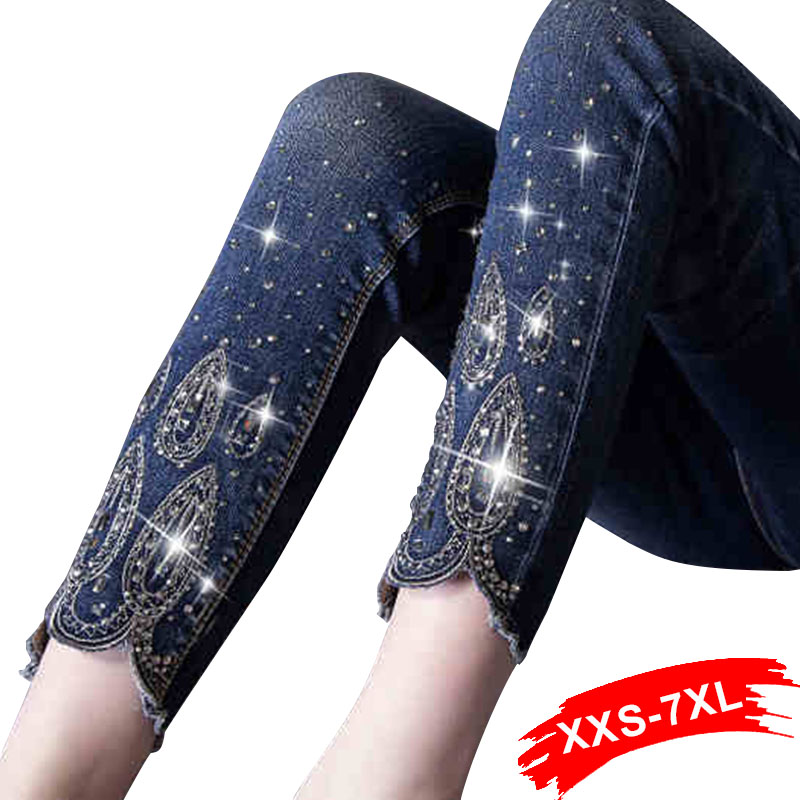 Spring Plus Size Rhinestone 4XL 5XL 6XL Nine Jeans Nine Pencil Female Oversized Stretch Pants Slim Fit Trousers