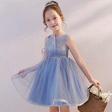 Girl princess dress bow flower summerb girl dress Children's dress ball gown catwalk host evening dress piano costume slim high