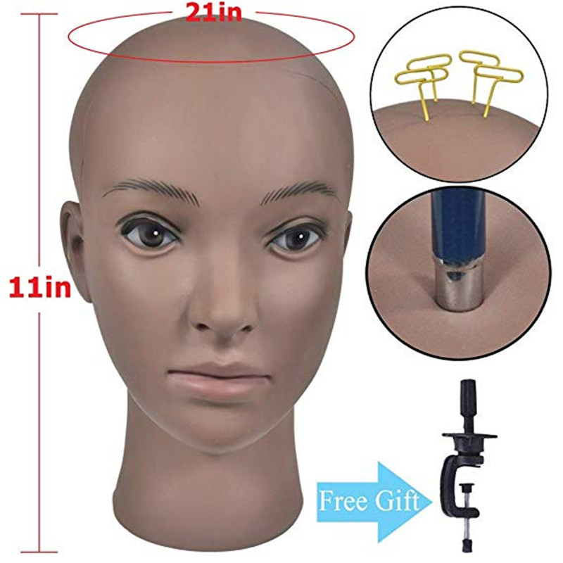 Bolihair Training Mannequin Head Wig Making Bald Block Head Display Styling Mannequin Manikin Head Wig Stand Get Free Clamp