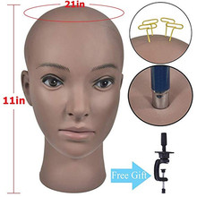 Bolihair Training Mannequin Head Wig Making Bald Block Display Styling Manikin Stand Get Free Clamp