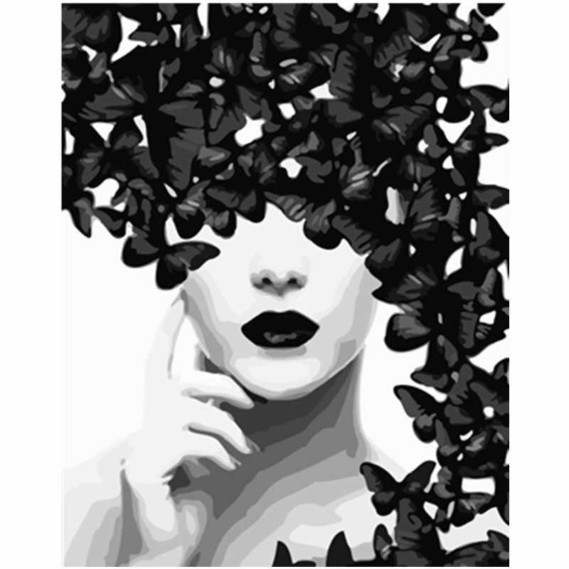 Pintura por números DIY Dropshipping 40x50 50x65cm negro y blanco mariposa figura lienzo decoración de la boda arte imagen regalo