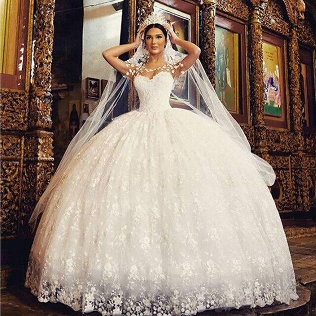 Saudi Arabisch Brautkleider Spitze Applique Flügelärmeln Weiß ...
