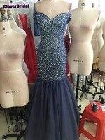 Pedras missangas Marinha Sereia vestido longo de renda festa lots stones mermaid long navy tulle prom dress 2018