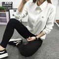 Plus Size Mulheres Sólidos Blusa Casual Lapela Camisa OL Camisas de Manga Longa de Algodão Mulheres Camisas De Algodão Tops Hot
