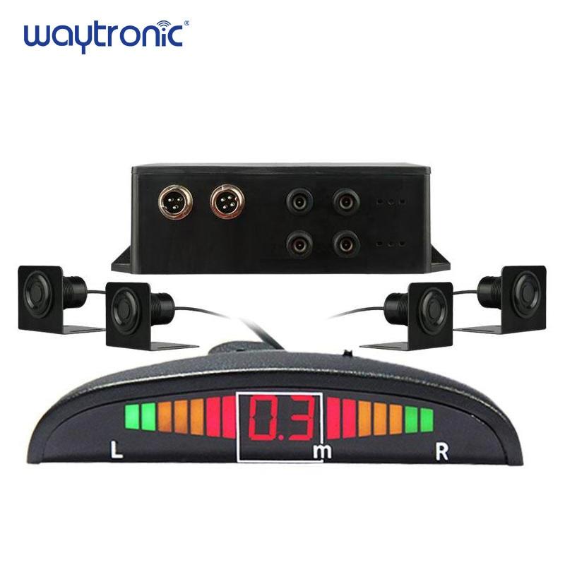 Truck Vehicle Ultrasonic Parking Sensor System LED Reserving Radar Beep Alarm with 4 Reverse Sensors for Trucks 12V 24V black parking sensor radar kit dc 12v 24v