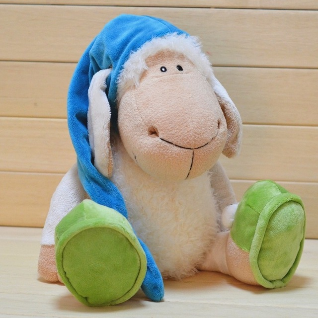 candice guo! Nici plush toy stuffed doll Doze sleep lamb with Nightcap cap Frog shoes appease toy birthday gift 1pc candice guo plush toy stuffed doll nici home decoration cartoon wolf sheep cloth creative children baby birthday christmas gift