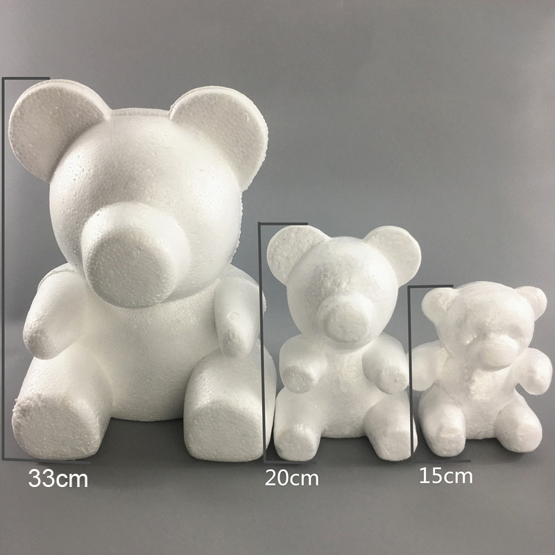 1PC 15cm/20cm/35cm Foam Rose Bear Mold DIY TOY Artificial Rose Flower Bear Plastic Bear Roses Luck Dog Mold Model
