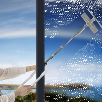 Window Cleaner Glass Cleaning Brush Tool with 180 Squeegee Head Extension Pole Microfiber Cloth For Indoor And Outdoor Windows