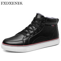 FXDXENEK New Fashion High Top Winter Shoes Men Lace Up Flat Casual Shoes Plush Keep Warm