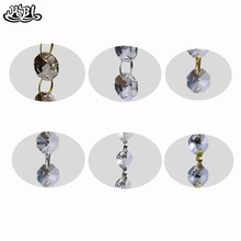 hbl Garland Hanging 14mm Clear Crystal Octagon Bead with Metal Connectors Curtain Diamond Party Home Wedding Chandelier Decor