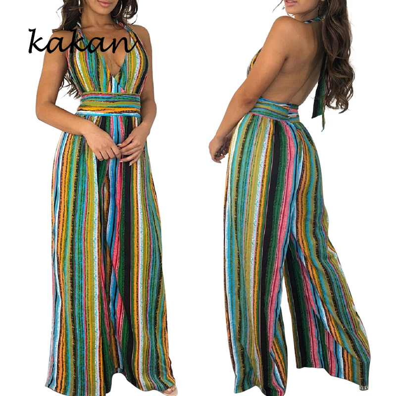 Kakan summer new women 39 s sling print jumpsuit colorful stripes sexy backless V neck jumpsuit without belt in Jumpsuits from Women 39 s Clothing