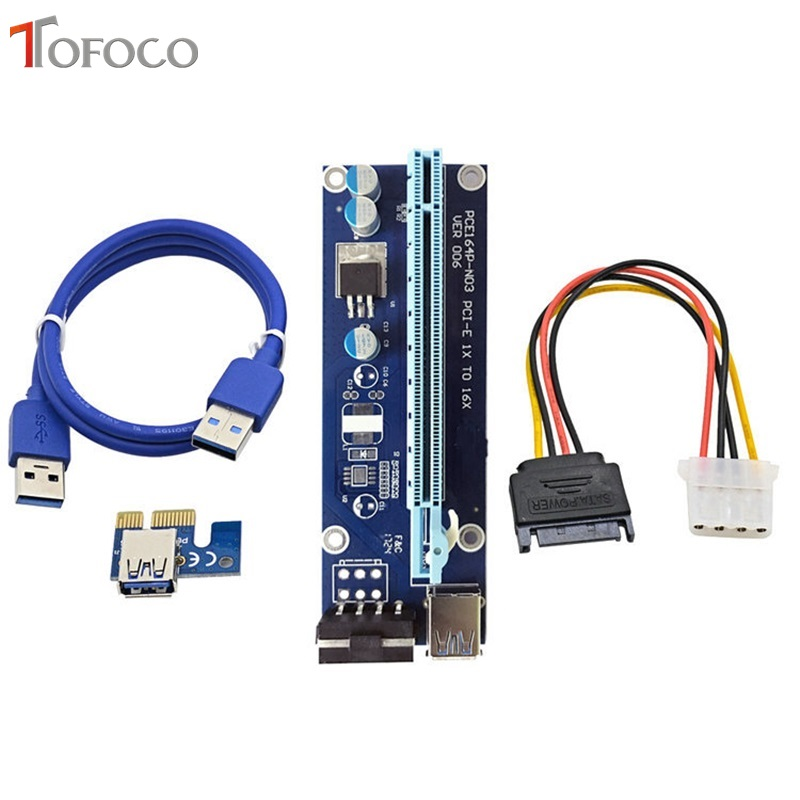 TOFOCO PC PCIE PCI-E PCI Express Riser Card 1x to 16x USB 3.0 Data Cable SATA to 4Pin IDE Molex Power Cord for BTC Miner 60CM
