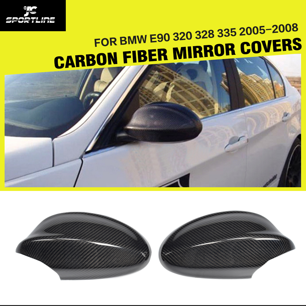 Carbon Fiber Car Side Review Mirror Caps Covers for BMW 3Series E90 320 328 335 Non M3 2005 2008 Replacement Style