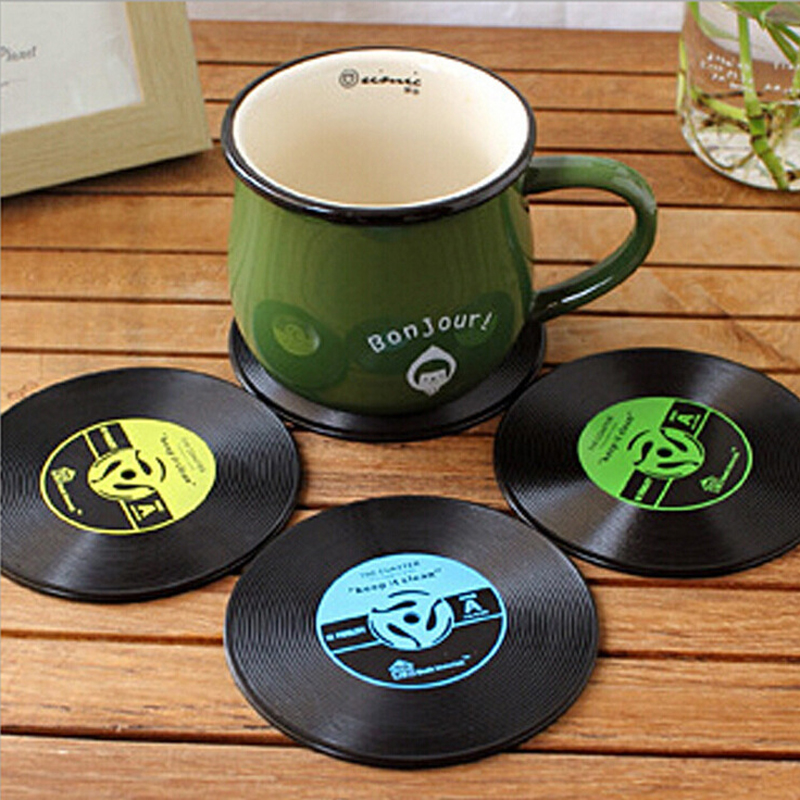 4Pcs Vinyl Vintage Record Coasters Cup Pad Silicone Drinks Coffee Mug Mat Table Placemat Mats DIY Home Bar Accessories MAYITR