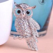 Silver Vintage Owl Brooch With Grey & Black Rhinestones