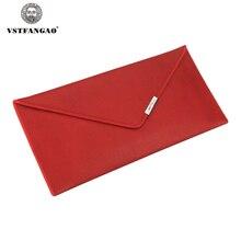 Frauen brieftasche Aus Echtem Leder Envelope Brieftasche Frauen Marke kuh Leder Geprägte Brieftaschen Dame Carteras Tasche Geldbörsen