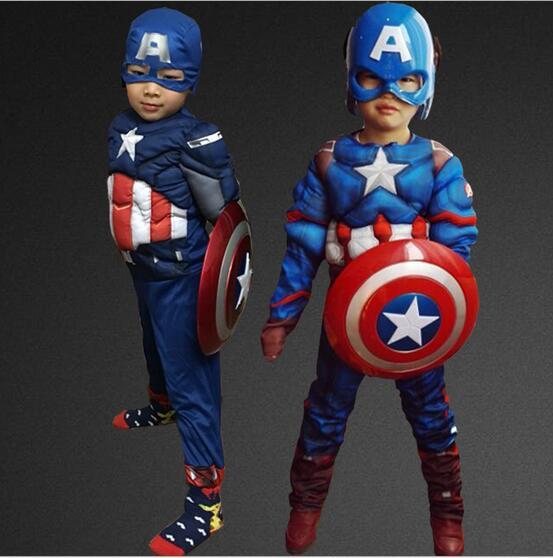 Marvel Avengers Age of Ultron Captain America Cosplay Costume Steve Rogers Child Kids Boy Superhero Costume