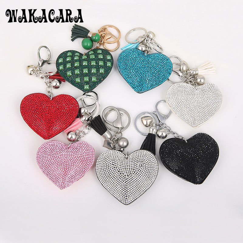 2016 new Romantic Women Key Chain Love heart leather keychain Rhinestone Key Finder Keyring Gift Four Colors Wholesale
