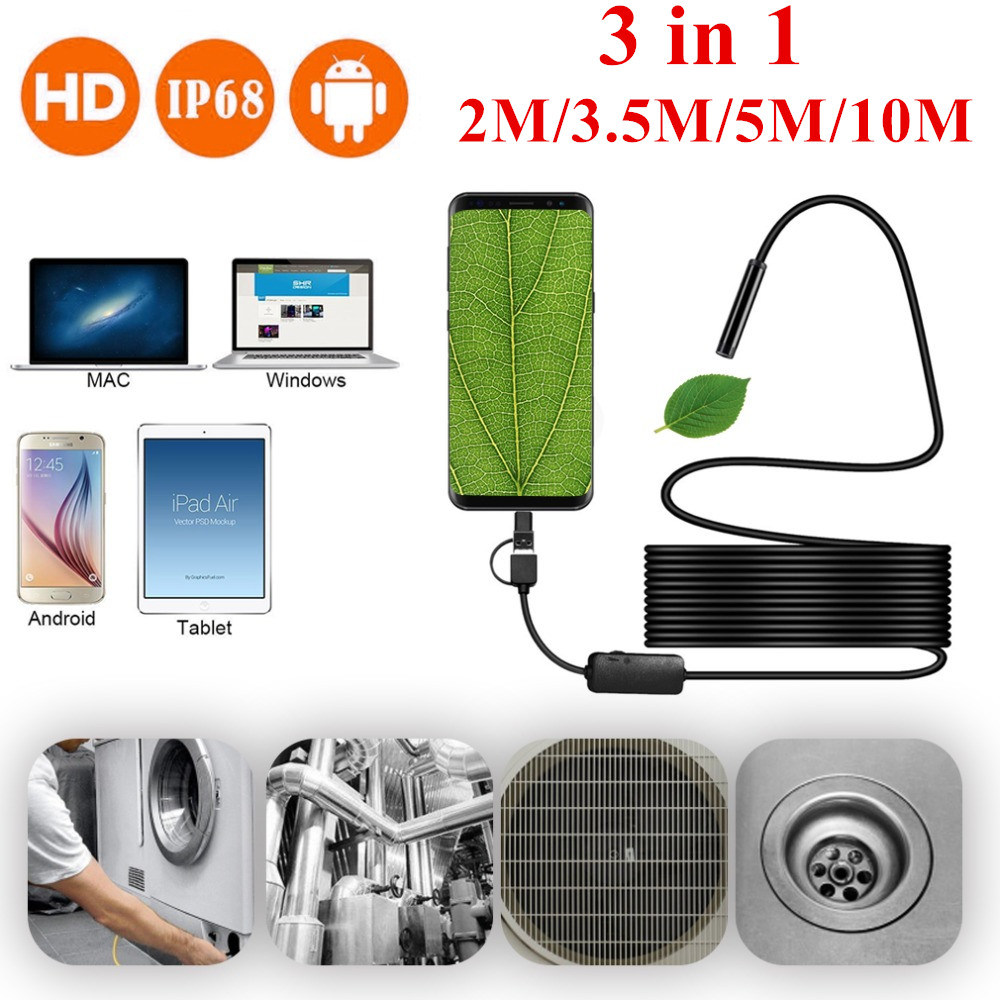 Inspection Borescope Camera 8mm Waterproof IP68 2M 3.5M 5M 10M Cable 1200P HD 3-in-1 Computer Endoscope Borescope Tube 8 LEDs