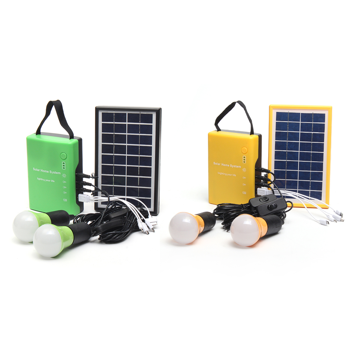 Portable Solar Panel Power Generator LED Light USB Cable Charge Emergency System Kit 4.5Ah/6V batteries Energy for Home Outdoor energy efficient system for solar panel