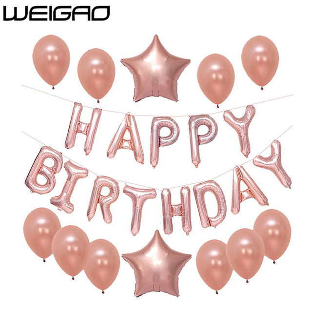 WEIGAO 13pcs Rose Gold Balloon Kit 18 21th Birthday Balls Sweet 16 Adult 30