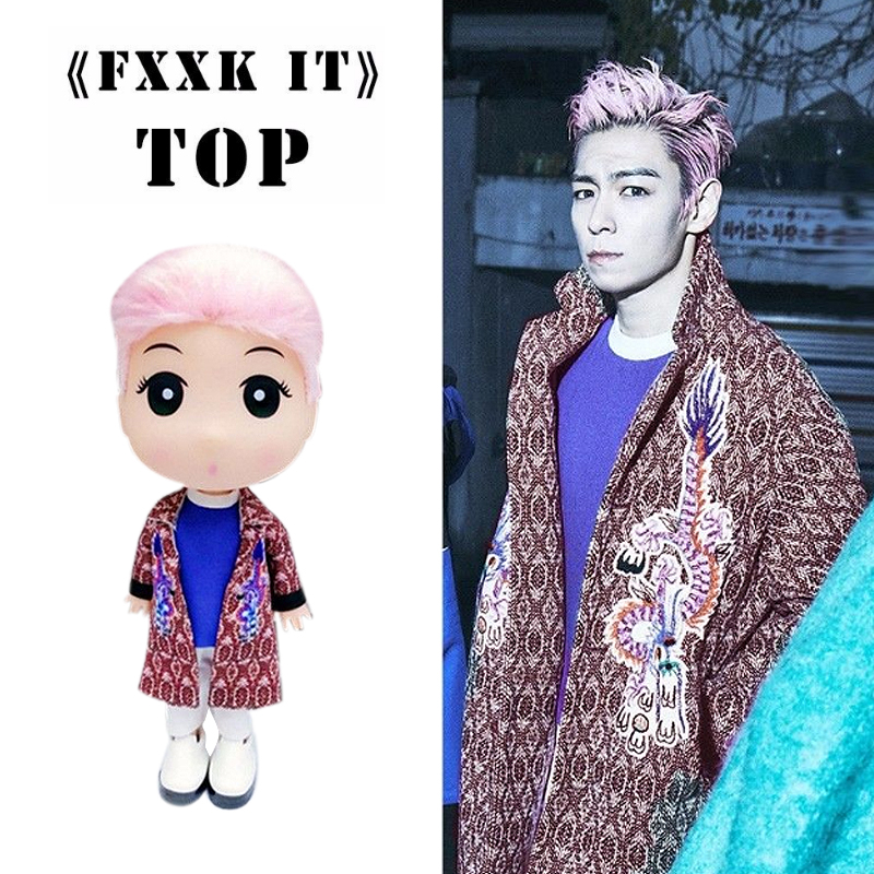 KPOP Bigbang TOP FXXK IT Doll Choi Seung Hyun 13cm/5 Figure Toy Handmade Gift Collection new kpop bigbang gd gdragon the same gd is back peaceminusone seoul hand bag