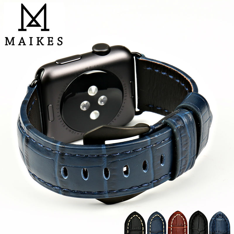 MAIKES watch accessories watchband sapphire blue genuine leather watch strap for Apple Watch Band 38mm 42mm iwatch wristband
