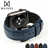 MAIKES Watch Accessories Watchband Sapphire Blue Genuine Leather Watch Strap For Apple Watch Band 38mm 42mm
