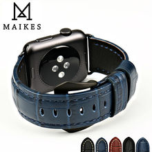 MAIKES watch accessories watchband genuine leather watch strap for Apple Watch 4 Band 44mm 40mm 38mm 42mm iwatch wristband