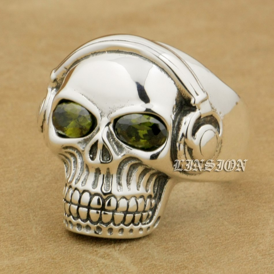 US Size 8~15 Unique Green CZ Eyes 925 Sterling Silver DJ Skull Studio Music Headphone Mens Boys Biker Rock Punk Ring 8Y311 green cz eye 925 sterling silver skull ring mens biker punk style 8v306a us 8 15