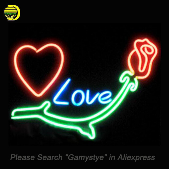 Neon Sign For Heart Love Rose Neon Lights Custom Neon Signs For Sale