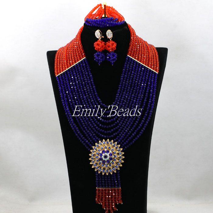Fantastique Costume africain ensembles de bijoux pour les femmes nigérian mariage collier ras du cou cristal dentelle bijoux livraison gratuite ALJ101
