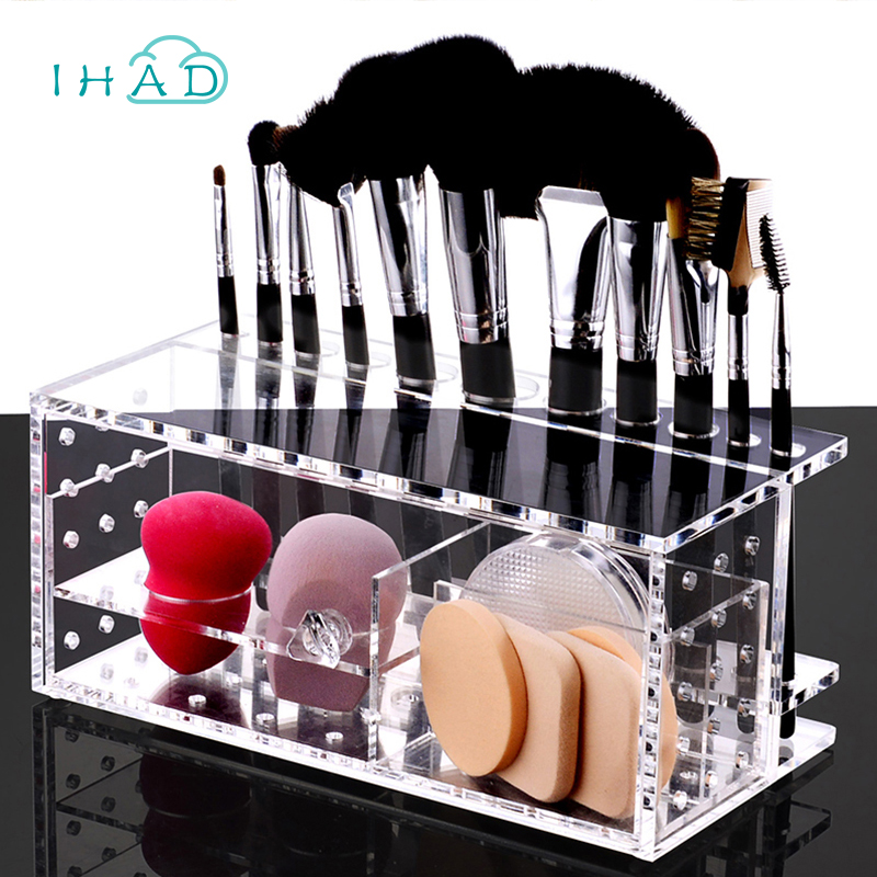 NEW Breathable acrylic puff storage box makeup cotton case organizer for Makeup brushes puff cotton pad container desktop decor