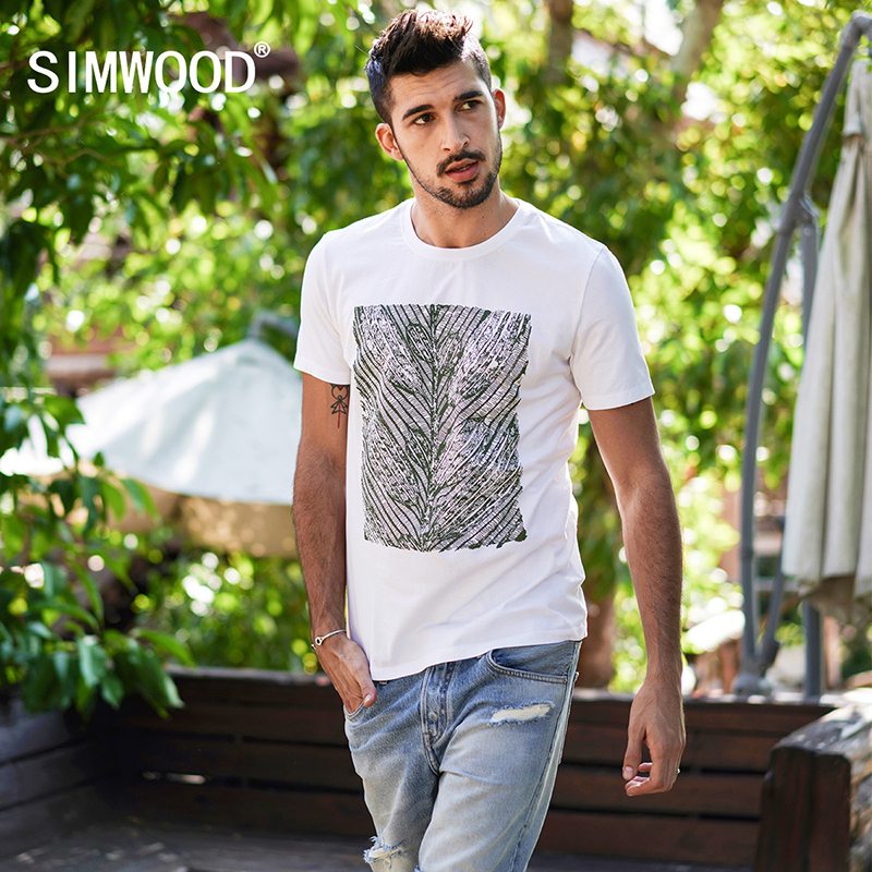 SIMWOOD 2019 Spring Summer   T  -  Shirts   Men Short Sleeve Casual 100% Pure Cotton Tops Slim Fit Print Brand Clothing TD017110