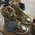 Ясно Складе 2016 весна осень девушки сетки кроссовки мальчики золотые кроссовки дети блестка shoes для ребенка высокие верхние shoes kids