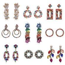 Atacado jujia novo boêmio brincos de pingente de cristal jóias jóias multicoloridas strass brincos de gota para mulher