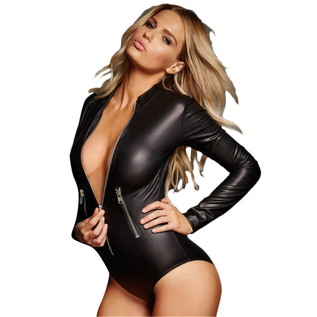 4b0ddc09c0 Cfanny 2017 Sexy Bodysuit Women Black Leathery Long Sleeve Zip Latex Bodysuit  Rompers Womens Jumpsuit For Women Bodycon Jumpsuit