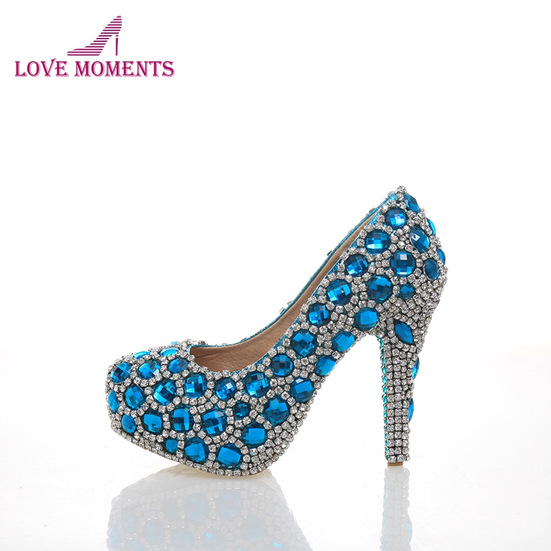 Gorgeous Unique Sparkling Blue Crystal Diamond Wedding Bridal Shoes Handmade Rhinestone Party Prom Shoes Bridesmaid Shoes ab crystal diamond exquisite wedding shoes sparkling rhinestone handcraft bridal shoes thin heel evening prom party women pumps