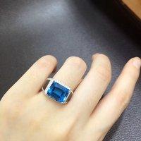 Anillos Qi Xuan_Blue камень Модные украшения Rings_Finger Rings_S925 чистого серебра синий Ring_Manufacturer непосредственно продаж