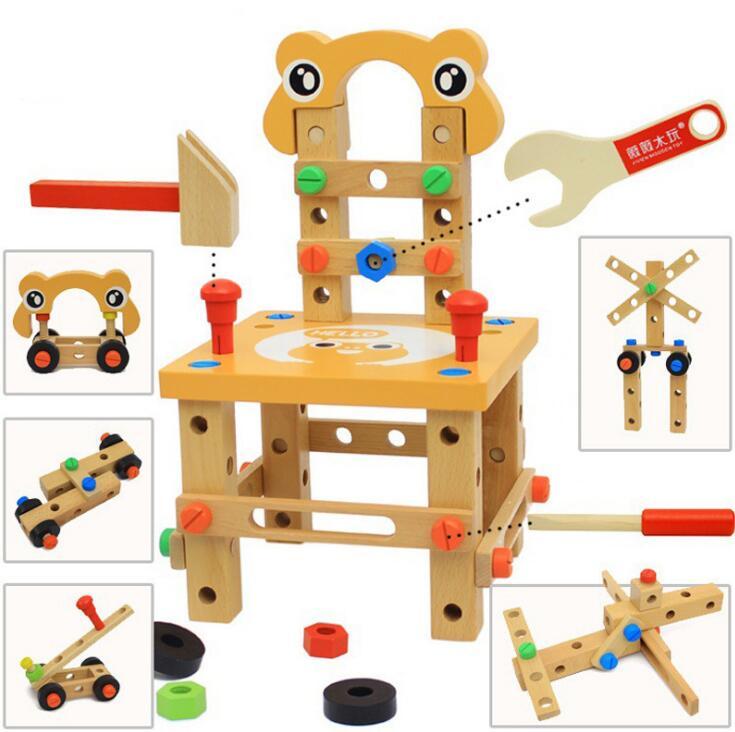 Montessori pour enfant jouets éducatifs pour enfants chaise designer ensemble d'outils jouets en bois cadeaux pour filles garçons expédition de la russie - 3