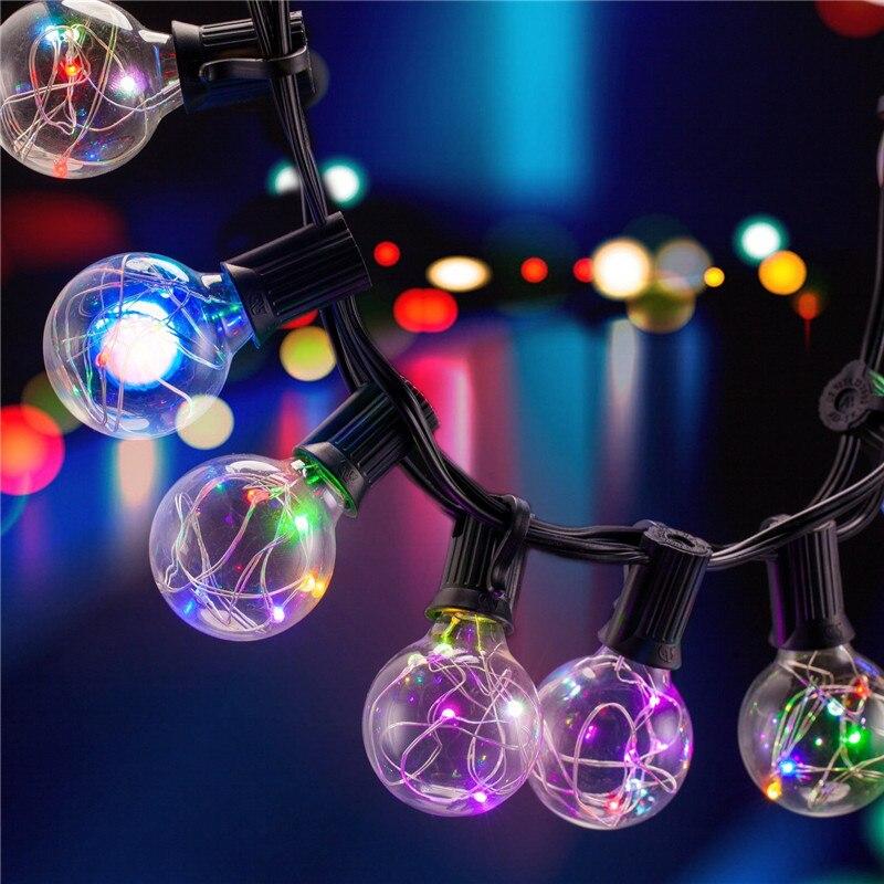SXZM 5.5M 25LED G40 bulbs Copper LED string light Waterproof Outdoor for Street Garden Patio Christmas decoration EU/US plug