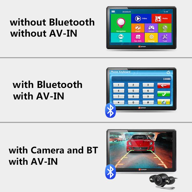 Junsun 7 inch HD samochodowy GPS Nawigacja FM Bluetooth AVIN Navitel 2018 najnowsze Europe map SAT NAV ciężarówka GPS Nawigatorzy samochodowe