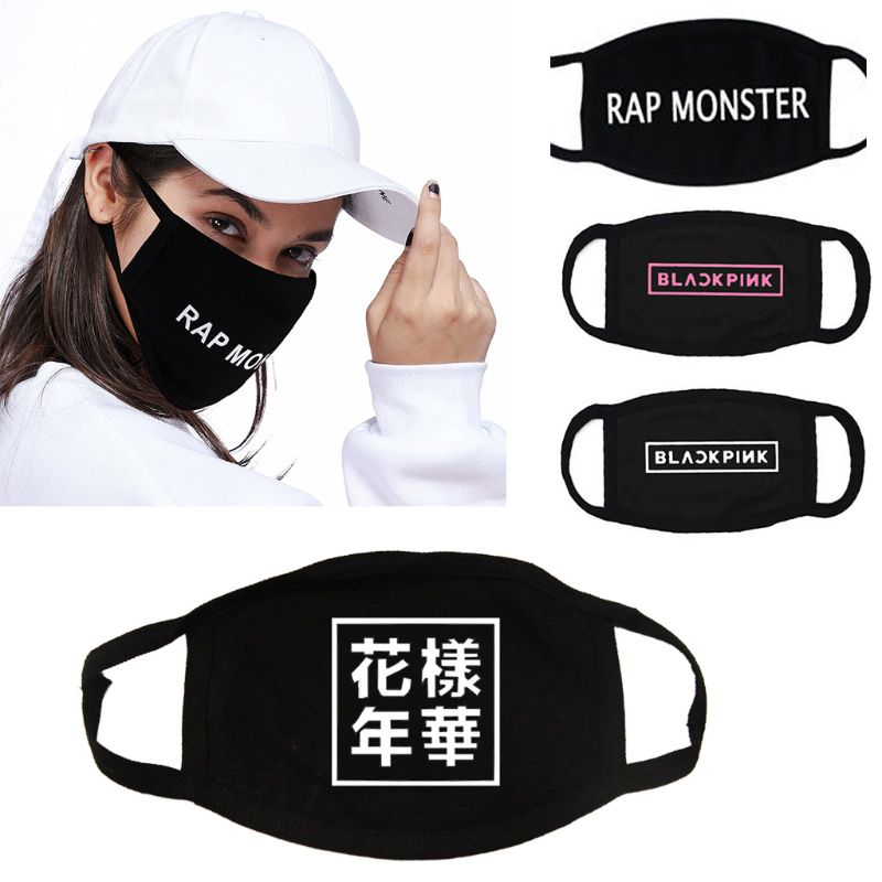 1Pc Unisex Letters Printed Cotton Half Face Mouth Mask Korean Group Kpop Twice Anti-Dust Respirator Winter Warm Mouth Cover